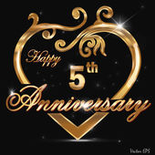 5 Year anniversary golden label, 5th anniversary decorative golden heart — Stock Vector