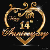 14 Year anniversary golden label, 14th anniversary decorative golden heart — Stock Vector