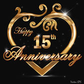 15 Year anniversary golden label, 15th anniversary decorative golden heart — Stock Vector
