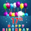 Постер, плакат: 17 Year Happy Birthday Card with balloons and ribbons 17th birthday vector EPS10