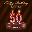 50 Year Happy Birthday Card with cake and candles, 50th birthday - vector EPS10 — Stock Vector #49411257