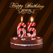 65 year Happy Birthday Card with cake and candles, 65th birthday - vector EPS10 — Stock Vector