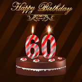 60 Year Happy Birthday Card with cake and candles, 60th birthday - vector EPS10 — Stock Vector