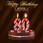 80 Year Happy Birthday Card with cake and candles, 80th birthday - vector EPS10 — Stok Vektör