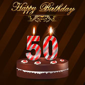 50 Year Happy Birthday Card with cake and candles, 50th birthday - vector EPS10 — Stock Vector