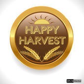 Happy harvest day thanks giving badge — Stock Vector