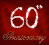 60 year happy birthday card, 60th anniversary sparkles — Stock Vector