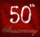 50 year happy birthday card, 50th anniversary sparkles — Stock Vector
