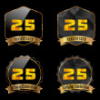 25 year birthday celebration golden label, 25th anniversary decorative polygon golden emblem - vector illustration eps10 — Stockvektor