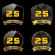 25 year birthday celebration golden label, 25th anniversary decorative polygon golden emblem - vector illustration eps10 — Vecteur