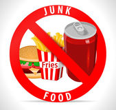 Avoid junk food poster with fries burger cold drink icons - vector eps10 — Stock Vector