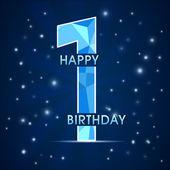 1 year birthday celebration label, 1st anniversary decorative polygon emblem — Stock Vector