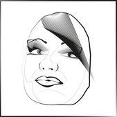 Sketch outline vector eyes lips face hair look obliquely. — Stock Vector