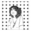 Monochrome vector illustration of a young woman, girl sketch. — ストックベクタ #48838239