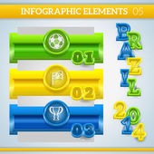 Infographic football banners in brazil colors. — Stock Vector