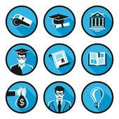 Edukacja mieszkanie ikony — Wektor stockowy