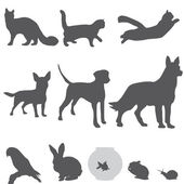 Pets silhouettes set — Stock Vector