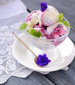 Blackcurrant ice cream or dessert — Stock Photo