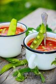 Rustic soup with green peas — Stock Photo
