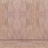 Empty interior perspective with brick tile wall — Stockfoto
