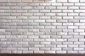 Brick wall background texture with brown trim — Stock Photo