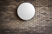 Template - Circle Lightbox logo on the dark red brick wall — Stockfoto