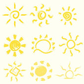 Vector set of hand-painted suns. — Stock Vector