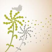Dandelions and birds silhouette. — Stock Vector