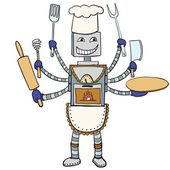 Robot chef drawing. Vector cartoon — Stock Vector