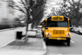Motion school bus typical — Stock Photo