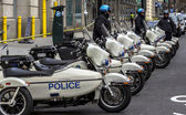Police motorcycles president convoy — Stock Photo