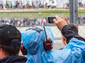 Filming Le Mans 2013 in raincover — Foto Stock