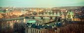 Prague bridges in evening lights — Stock Photo