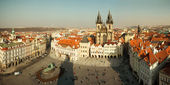 Panorama of Old Town square in Prague from height — Stok fotoğraf
