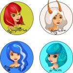 Cartoon Set of Zodiac Signs Sagittarius, Capricorn, Aquarius and Pisces Cute Girls — Stock Vector