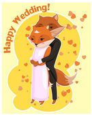 Cartoon postcard for Wedding with cute foxes — Stock Vector
