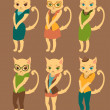 Cartoon set of cute cats in retro style clothes — Stock Vector #45669101
