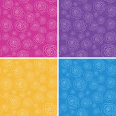 Set of vector seamless patterns with stylized hand drawn flowers — Stock Vector