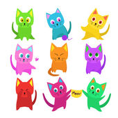 Vector set of funny cartoon cats in unusual colors — Stock Vector