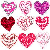 Zestaw naklejek piękne serce — Wektor stockowy