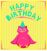 Vector birthday card with funny little bird in cartoon style on background — Stock Vector