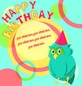 Vector birthday card with funny little bird in cartoon style on colorful background — Stock Vector