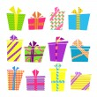 Vector set of colorful cartoon style present boxes with ribbons and bows — Stock Vector #51416137