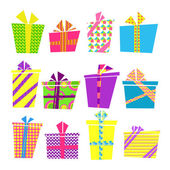 Vector set of colorful cartoon style present boxes with ribbons and bows — Stock Vector