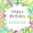 Vector colorful birthday card with gift boxes in different wrappings on background — Stock Vector