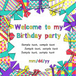 Vector colorful birthday invitation card with gift boxes in different wrappings on background — Stock Vector