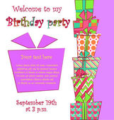 Vector colorful birthday card with a pile of gift boxes in different wrappings on background — Vector de stock