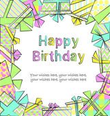 Vector colorful birthday card with gift boxes in different wrappings on background — Vector de stock