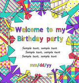 Vector colorful birthday invitation card with gift boxes in different wrappings on background — Wektor stockowy