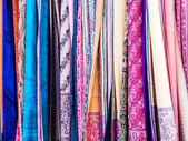 Colorful scarves on a local market in Baku — Stock Photo
